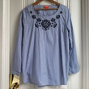 Joe Fresh Blue Floral Embroidered Stripe Tunic Top
